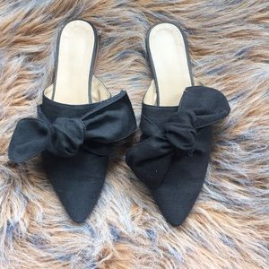 Top shop black canvas mules